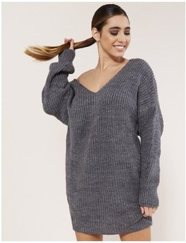 Grey Twist Back Knitted Jumper Dress by Public Desire