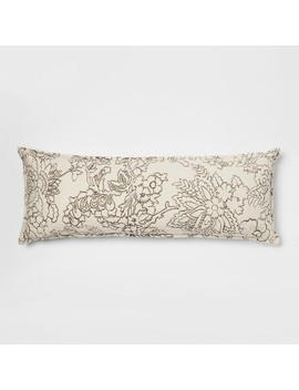 Floral Embroidered Flannel Oversized Lumbar Pillow Cream   Threshold™ by Shop This Collection