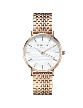 **The Upper East Side White Pearl Rose Gold Watch By Rosefield by Topshop