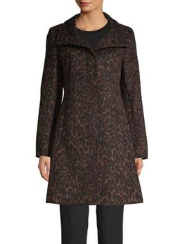 Leopard Printed A Line Coat by Via Spiga
