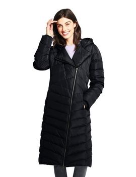 Women's Asymmetrical Down Winter Long Coat by Lands' End