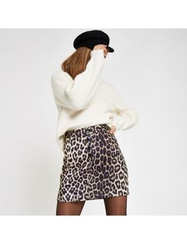 Beige Leopard Print Button Front Mini Skirt by River Island