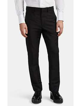 Grosgrain Trimmed Mohair Wool Trousers by Prada