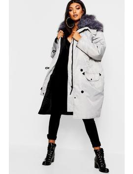 Oversized Faux Fur Fly Hood Luxe Parka by Boohoo