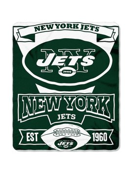 """New York Jets  50"""" X 60"""" Marque Fleece Throw Blanket   Green/White by The Northwest Company"""