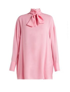 Pussy Bow Silk Crepe Blouse by Valentino