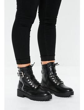 Black Buckle Detail Hiking Boots by Missguided