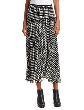 Stretch Silk Printed Side Drape Midi Skirt by Theory
