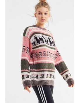 Uo Llama Knit Crew Neck Sweater by Urban Outfitters