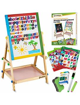 Yarmoshi Blackboard / Whiteboard Easel, Sturdy, Double Sided, Adjustable, Fixed Bottom Tray, Magnetic Sponge, Marker Pen And Upper And Lower Case Letters And Numbers,12 Chalks   Toddlers Learning Play by Yarmoshi