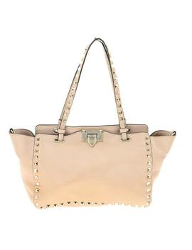 Small Rockstud Poudre Pink Leather Tote by Valentino