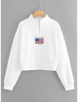Zip Neck Letter Print Sweatshirt by Romwe