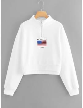 Zip Neck Letter Print Sweatshirt by Romwe