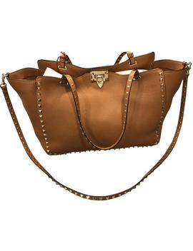 Large Rockstud Brown Leather Tote by Valentino