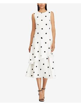 Polka Dot Crepe Midi Dress by Lauren Ralph Lauren