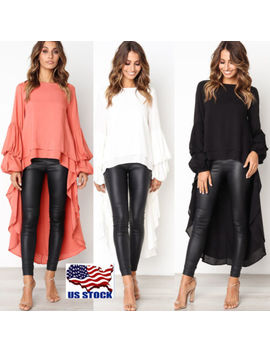 Women's Chiffon Long Sleeve Irregular Tops Ladies Ruffle Party T Shirt Blouse Us by Unbranded