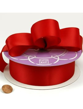 """Red Double Face Satin Ribbon, 1 1/2"""" X 50 Yd by Paper Mart"""