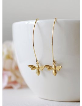 Gold Bee Earrings. Honey Bee Long Dangle Earrings. Bee Jewelry. Spring Summer, Christmas Gift For Women Mom Girlfriend Wife Daughter by Etsy