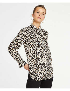 Petite Spotted Bow Blouse by Ann Taylor
