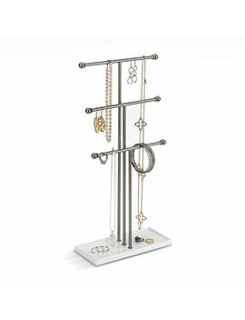Umbra Trigem Hanging Jewelry Organizer – 3 Tier Table Top Necklace Holder, Jewelry Box And Jewelry Display With Jewelry Tray Base, White/Brass by Amazon