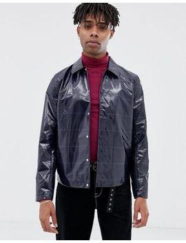 Asos Design Coach Jacket In Navy Check by Asos Design