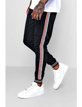 Side Stripe Cuffed Jersey Jogger by Boohoo