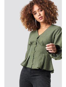 Button Up Balloon Sleeve Blouse by Na Kd Trend
