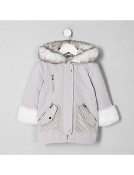 Mini Girls Cream Faux Fur Trim Parka Jacket by River Island