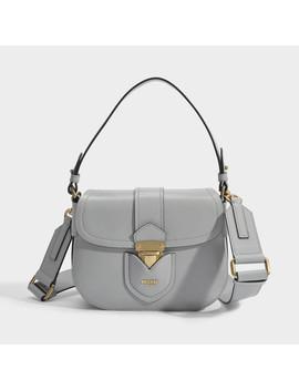 Hidden Lock Shoulder Bag In Grey Calfskin by Moschino
