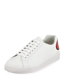 Men's Avenue Bubble Patch Leather Low Top Sneakers by Prada