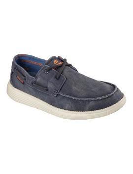 Men's Skechers Relaxed Fit Status Melec Boat Shoe Navy by Skechers