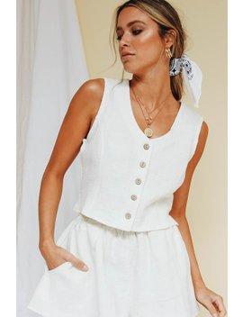 Vg Self Titled Button Front Linen Top // White by Vergegirl