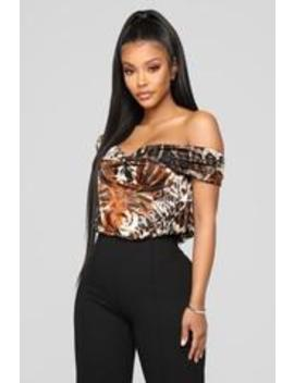 You're Not Ready Top   Brown Combo by Fashion Nova