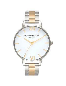 White Dial Silver & Gold Mesh Bracelet Watch by Olivia Burton