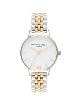 White Dial Silver & Gold Bracelet Watch by Olivia Burton