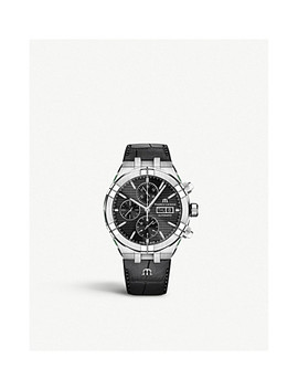 Ai6038 Ss001 330 1 Aikon Stainless Steel And Leather Chronograph Watch by Maurice Lacroix