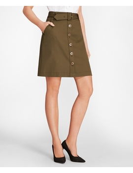 Stretch Cotton Twill Button Front A Line Skirt by Brooks Brothers