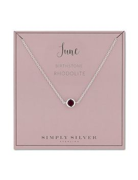 Simply Silver   Sterling Silver June Rhodolite Birthstone Necklace by Simply Silver
