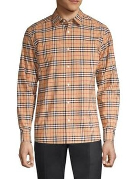 Small Scale Core Stretch Check Button Down Shirt by Burberry