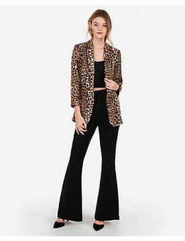 Leopard Print Rolled Sleeve Boyfriend Blazer by Express