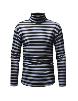 Men Fashion Sweaters Striped Pattern Pullover Autumn Casual Turtle Neck Superb by Ebay Seller