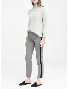 Petite Avery Straight Fit Herringbone Ankle Pant With Velvet Side Stripe by Banana Repbulic