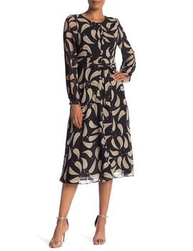 Leaf Print Midi Dress by Tina