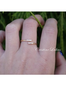 10 K, 14 K Or 18 K Gold Or Silver Ring With Cubic Zirconia Stones   Double Wrap Cross, By Pass Ring   Yellow Gold by Etsy