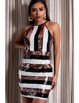 Phoebe Black Sequin Stripe Mini Dress by Misspap