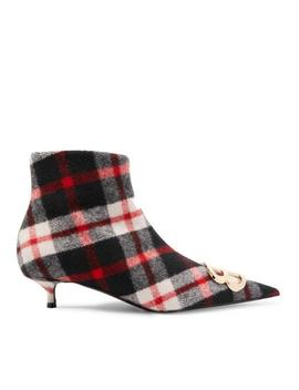 Knife Bb Logo Embellished Tartan Wool Ankle Boots/Booties by Balenciaga