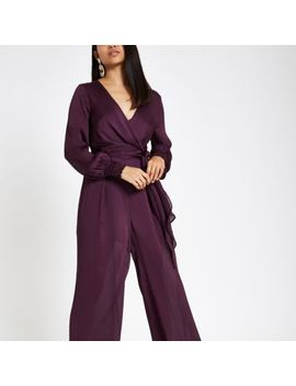 Petite Purple Wrap Front Wide Leg Jumpsuit by River Island