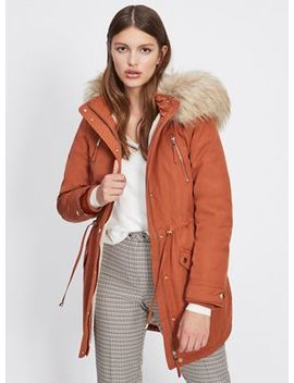 Miss Selfridge   Rust Faux Fur Lined Parka Coat by Miss Selfridge