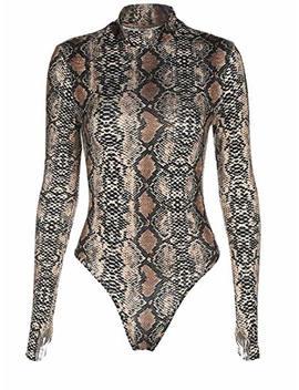 Sorrica Womens Sexy Long Sleeve Snake Skin Print Bodysuit Jumpsuit Mock Neck Stretchy Leotard Tops Clubwear by Sorrica