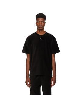 Black Velvet Ribbed T Shirt by Alexander Wang
